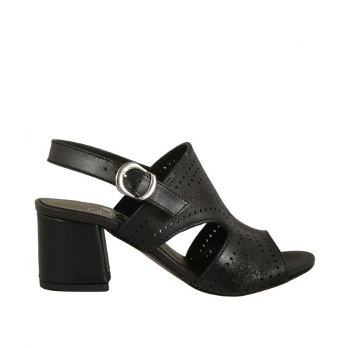 Woman's sandal in pierced black leather heel 5 - Available sizes:  42, 43