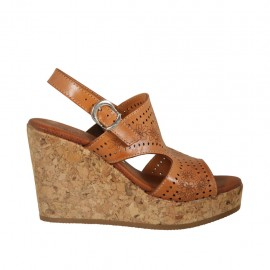 Woman's sandal in tan brown pierced leather with platform and wedge 9 - Available sizes:  32, 33, 34, 42, 43, 44, 45