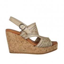 Woman's sandal in taupe pierced leather with platform and wedge 9 - Available sizes:  32, 33, 34, 42, 43, 44, 45