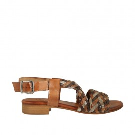 Woman's sandal in dark brown, grey and tan braided leather heel 2 - Available sizes:  33, 34, 42, 43, 44