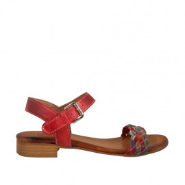 Woman's strap sandal in red, blue and grey braided leather heel 2 - Available sizes:  33, 34, 42, 43, 44