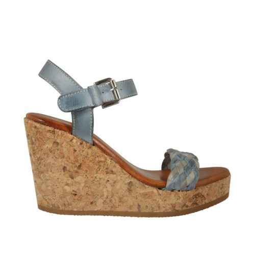 Woman's strap platform sandal in blue grey and grey leather and braided leather wedge heel 9 - Available sizes:  42, 43, 44