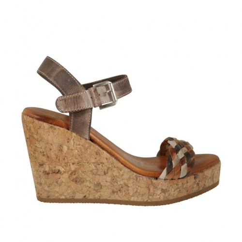 Woman's strap platform sandal in taupe, tan and beige leather and braided leather wedge heel 9 - Available sizes:  42, 43, 44