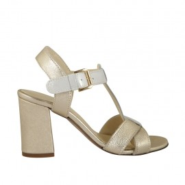 Woman's strap sandal in platinum leather and grey printed suede heel 7 - Available sizes:  33, 34, 42, 43, 44, 45
