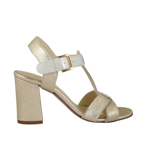 Woman's strap sandal in platinum leather and grey printed suede heel 7 - Available sizes:  32, 33