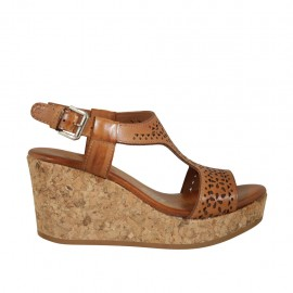 Woman's sandal in tan pierced leather with platform and wedge 7 - Available sizes:  32, 33, 34, 42, 43, 44, 45