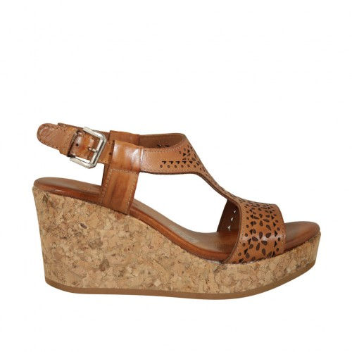 Woman's sandal in tan pierced leather with platform and wedge heel 7 - Available sizes:  45