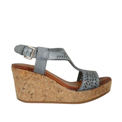 Woman's sandal in blue grey pierced leather with platform and wedge 7 - Available sizes:  43, 45