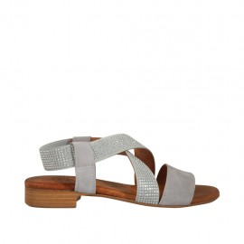 Woman's sandal in black leather with elastic band with rhinestones heel 2 - Available sizes:  33, 34, 42, 43, 44, 45