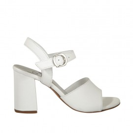 Woman's strap sandal in white leather heel 7 - Available sizes:  32, 33, 34, 42, 43, 44, 45