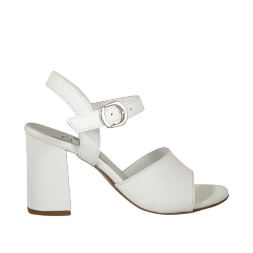 Woman's strap sandal in white leather heel 7 - Available sizes:  42