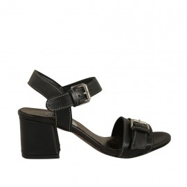 Woman's sandal with strap with buckle in black leather heel 5 - Available sizes:  32, 33, 34, 42, 43, 44
