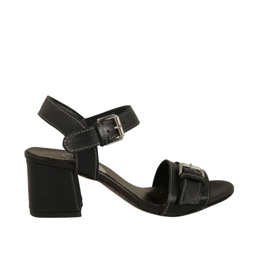 Woman's sandal with strap with buckle in black leather heel 5 - Available sizes:  42, 43, 44