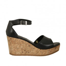 Woman's open shoe with strap and platform in black leather wedge heel 7 - Available sizes:  32, 33, 34, 42, 43, 44