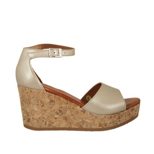Woman's open shoe with strap and platform in platinum leather wedge heel 7 - Available sizes:  43, 45
