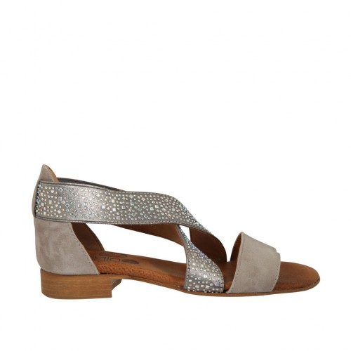 Woman's open shoe in grey suede with elastic bands and rhinestones heel 2 - Available sizes:  32