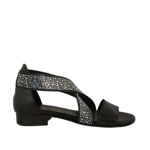 Woman's open shoe in black leather with elastic bands and rhinestones heel 2 - Available sizes:  32, 33
