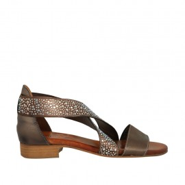 Woman's open shoe in bronze leather with elastic bands and rhinestones heel 2 - Available sizes:  32, 33, 34, 43, 44, 45