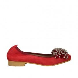 Ballerina da donna in camoscio rosso con pon-pon e strass tacco 2 - Misure disponibili: 33, 34, 45