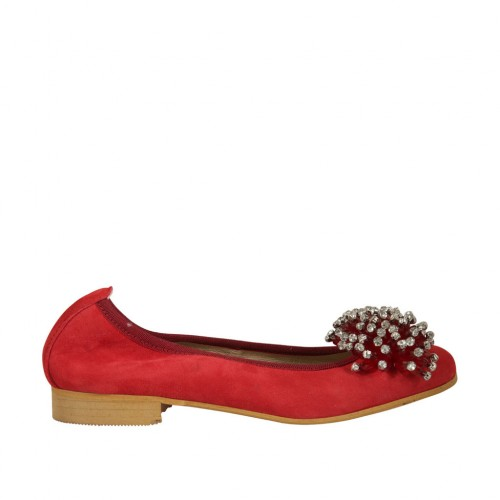 Woman's ballerina shoe in red suede with pompom and rhinestones heel 2 - Available sizes:  33