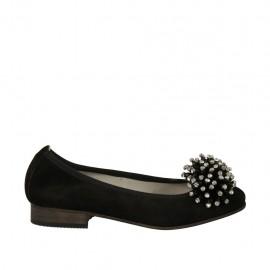 Ballerine pour femmes en daim noir avec pompom et strass talon 2 - Pointures disponibles:  33