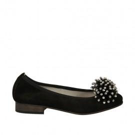 Woman's ballerina shoe in black suede with pompom and rhinestones heel 2 - Available sizes:  33, 34, 42, 43, 44, 45