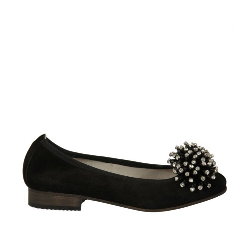 Woman's ballerina shoe in black suede with pompom and rhinestones heel 2 - Available sizes:  33