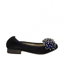 Ballerine pour femmes en daim bleu avec pompom et strass talon 2 - Pointures disponibles:  33
