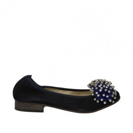 Woman's ballerina shoe in blue suede with pompom and rhinestones heel 2 - Available sizes:  33, 34