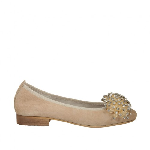 promo code c2ab2 a6d00 Woman's ballerina shoe in taupe suede with pompom and rhinestones heel 2