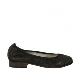 Ballerine pour femmes en cuir perforé noir talon 2 - Pointures disponibles:  33, 34, 42, 43, 44, 45