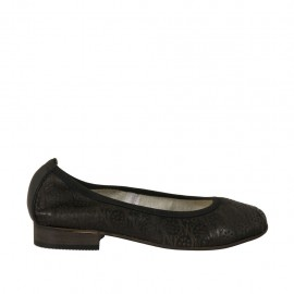 Woman's ballerina shoe in black leather heel 2 - Available sizes:  33, 34, 42, 43, 44, 45