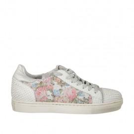 Chaussure pour femmes à lacets en cuir imprimé blanc, argent et multicouleur floreal talon compensé 2 - Pointures disponibles:  44