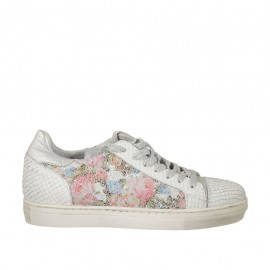 Woman's laced shoe in white, silver and multicolored floral printed leather wedge heel 2 - Available sizes:  33, 34, 44, 45