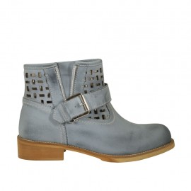 Woman's low ankle boot with buckle and zipper in blue grey leather and pierced leather heel 3 - Available sizes:  33, 34, 42, 43, 44