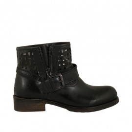 Woman's low ankle boot with buckle and zipper in black leather and pierced leather heel 3 - Available sizes:  33, 34, 42