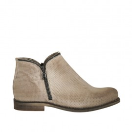 Woman's ankle boot with zippers in beige pierced leather heel 2 - Available sizes:  33, 34, 43, 44, 45