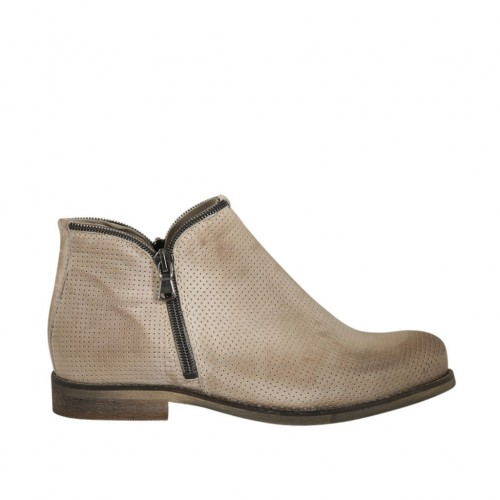 Woman's ankle boot with zippers in beige pierced leather heel 2 - Available sizes:  33, 44