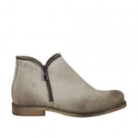 Woman's ankle boot with zippers in grey pierced leather heel 2 - Available sizes:  34, 44