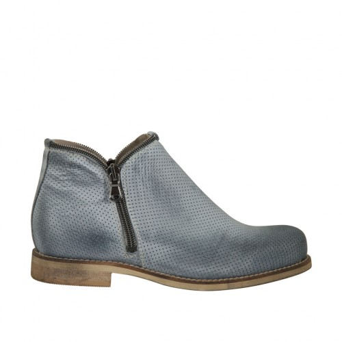 Woman's ankle boot with zippers in blue grey pierced leather heel 2 - Available sizes:  33, 43