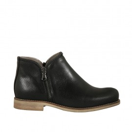 Woman's ankle boot with zippers in black pierced leather heel 2 - Available sizes:  33, 34