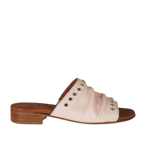Woman's open mules in rose leather with studs heel 2 - Available sizes:  32, 42