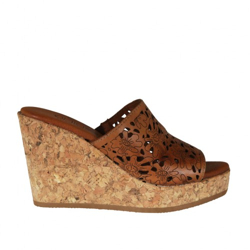 Woman's open mules in tan pierced leather wedge heel 9 - Available sizes:  42