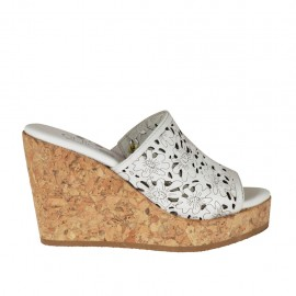 Woman's open mules in white pierced leather with platform and wedge heel 9 - Available sizes:  34, 42, 43, 44, 45