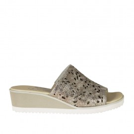 Woman's open mules in lead colored printed pierced leather wedge heel 4 - Available sizes:  42