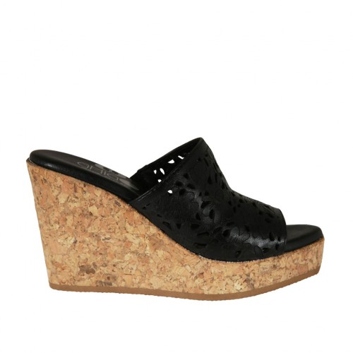 Woman's open mules in black pierced leather with platform and wedge heel 9 - Available sizes:  43