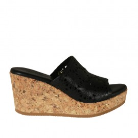 Woman's open mules in black pierced leather with platform and wedge heel 7 - Available sizes:  32, 33, 34, 43, 44