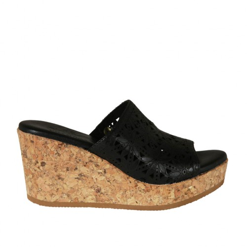 Woman's open mules in black pierced leather with platform and wedge heel 7 - Available sizes:  43