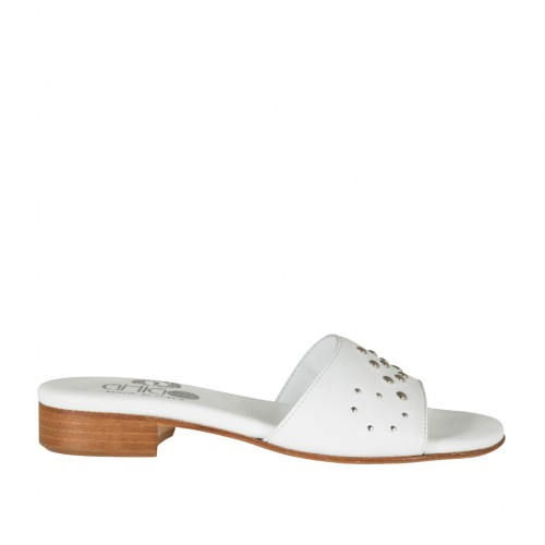 Woman's open mules in white leather with studs heel 2 - Available sizes:  32, 43