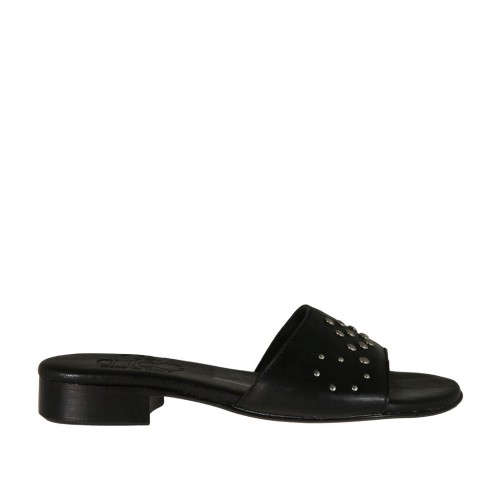 Woman's open mules in black leather with studs heel 2 - Available sizes:  32, 33, 42